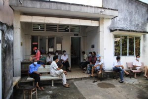 Patients waiting for treatment outside a clinic in Vietnam