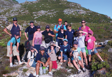 The outdoor education group of Hout Bay International School on a hiking trip