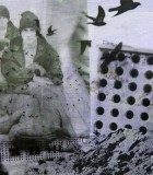"""A piece of student and teacher collaborative artwork """"Homeless Montage."""""""