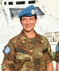 Marina Catena, director of the World Food Programme, while serving as a peacekeeper with the Italian Army