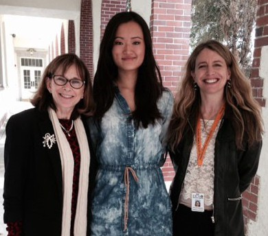 Left to right: IB coordinator and assistant principal at St Petersburg High School, Susan Farias; National Merit Scholar and Duke University freshman Ashley Zhou; Pinellas County Instructional Staff Developer Renee Caplinger-Ford