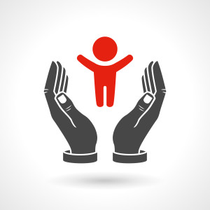 Hands holding a baby symbol, vector icon. EPS 10 file.