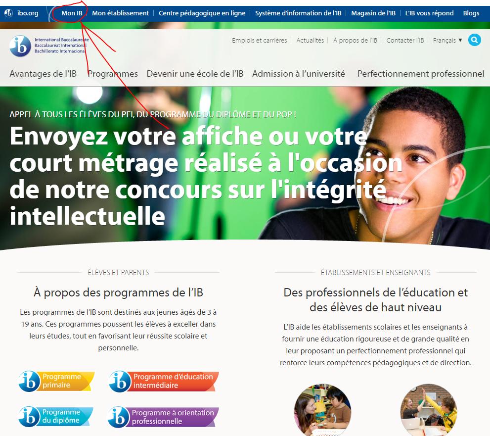 ibo.org homepage fr My IB