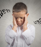 Closeup portrait stressed child, boy hands on temples, head spinning around, overwhelmed at school in life, isolated grey wall background. Human facial expressions, emotions, feeling, perception