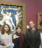 Students visit the National Gallery in London. The paintings are both by Bronzino: An Allegory with Venus and Cupid and Portrait of a Young Man
