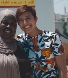 Maryam Al-Ammari (right) at the Maharat Sewing Center in Dhlail, Jordan.