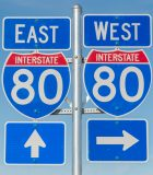 Signs for US highway 80 east and west