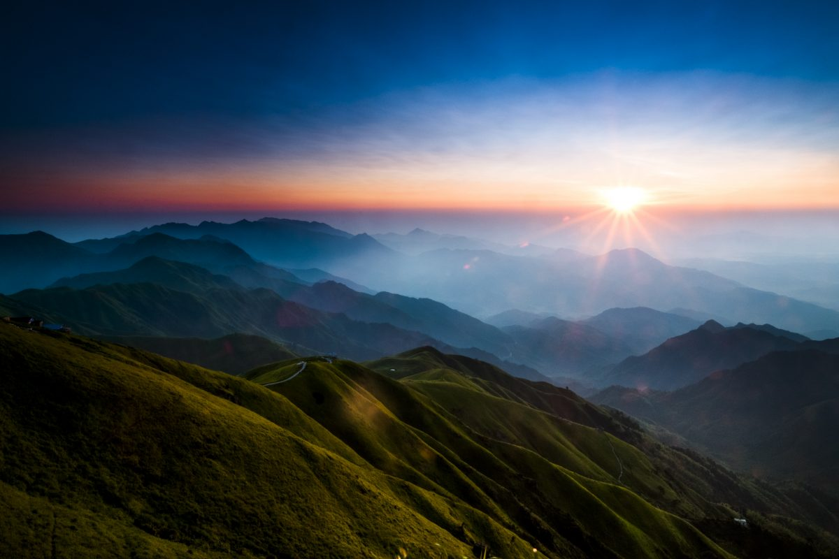 sunrise on the top of mountain.
