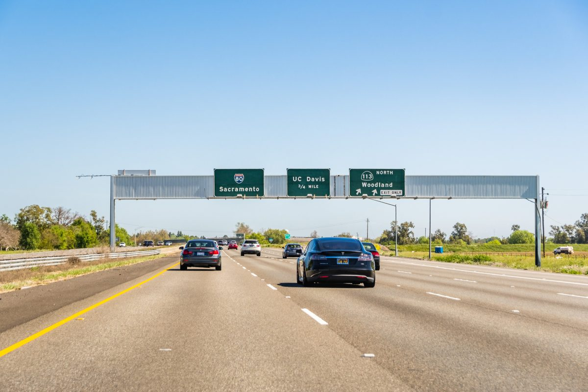 April 14, 2018 Davis / CA / USA - Light traffic on I80 towards Sacramento