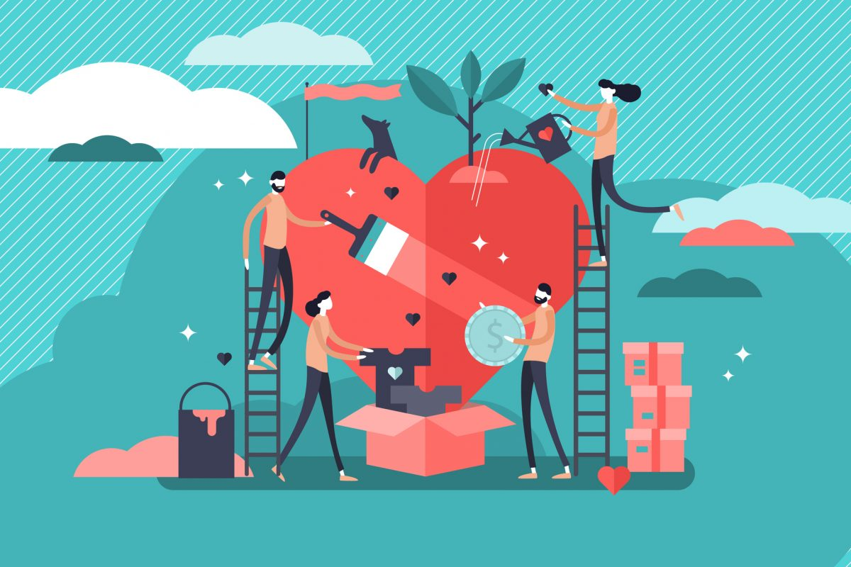 Volunteering vector illustration. Stylized and abstract team help charity and sharing hope. Care, love and good heart community support poor, homeless and elder persons.