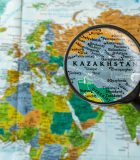 Map of Kazakhstan through magnifying glass