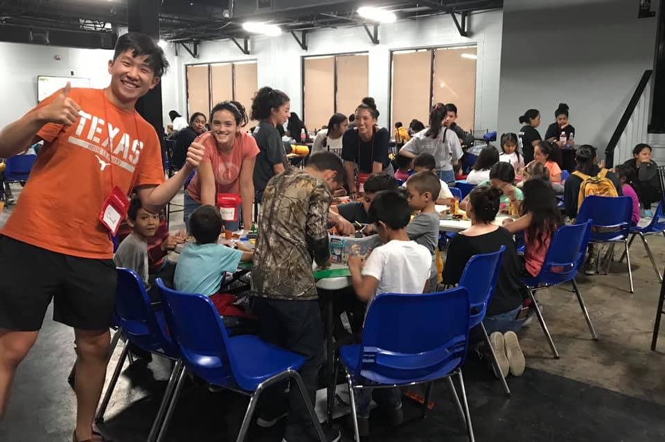 DP student David Li together with the students of the Humanitarian Respite Center