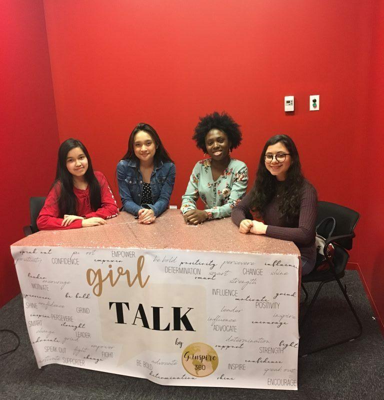 DP students Foluke, Raphael and Elina creating an episode of the Girl Talk