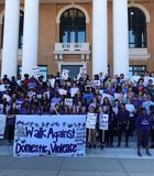 All the students and teachers that participated in the Walk Against Domestic Violence
