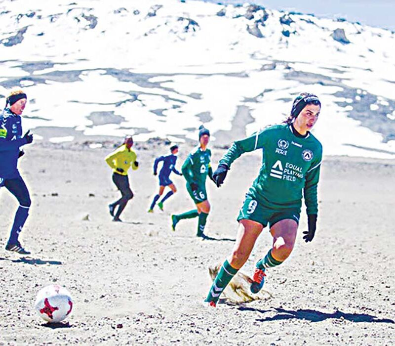 Saja Kamal and other Equal Playing Field (EPF) players competing in a match on Mount Kilimanjaro - Credits: Arab News.