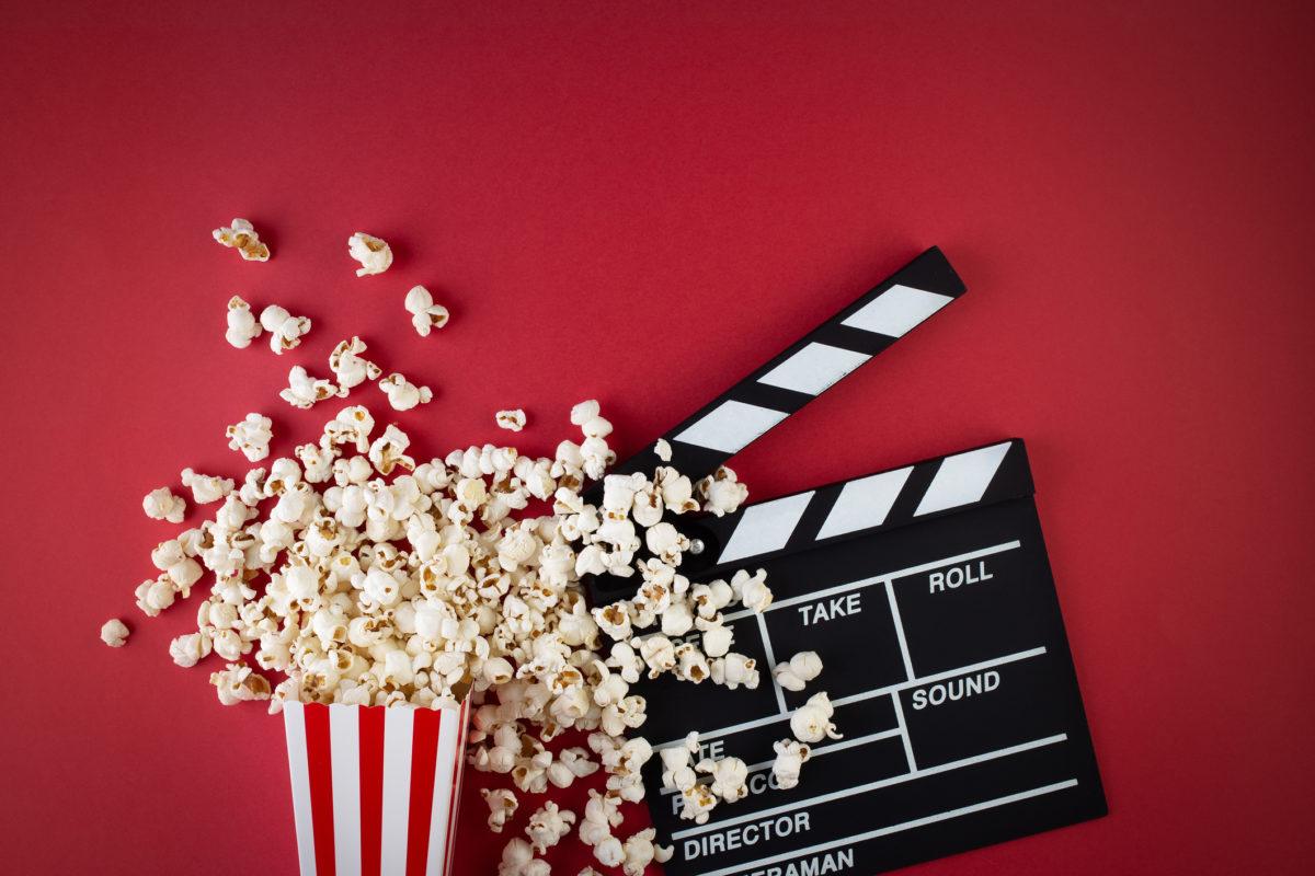 popcorn, red, background, clapperboard