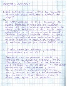 Parents' reflection written in their mother tongue (Spanish)