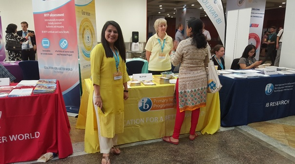 Curriculum Manager Terri Walker and IB Regional Development Manager Priyamvada Taneja connected with several IB educators at the PYP table
